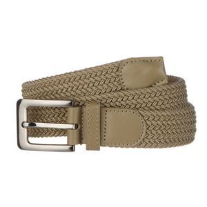 Braided web belt beige with traditional pin buckle