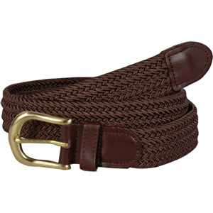 Brown Braided belt with gold buckle