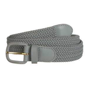 Braided belt grey- leather covered buckle