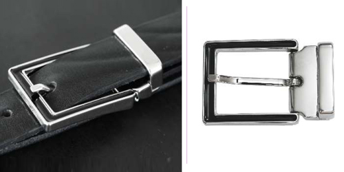 DV11664-30 Nickel buckle with rectangular recess and keeper