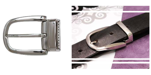 DV11725-35 mm niclel belt buckle with built in keeper and clamp