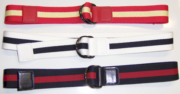 Striped web leather combination belts 35 mm