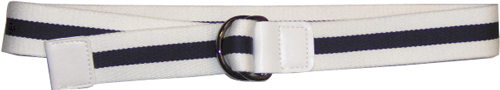 Devanet D ring belt with leather tabs