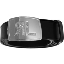 Diamante buckle on black leather
