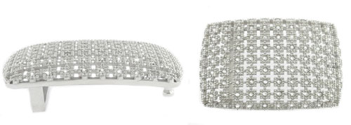 DVA3347-40 mm 3D Structured 925 sterling silver buckle created with Swarovksi elements