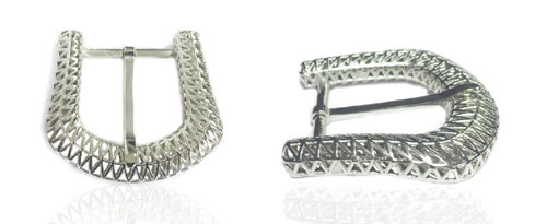 DV0024-35 mm 3D Structured 925 sterling silver belt buckle