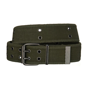 Web belt Olive green double prong buckle