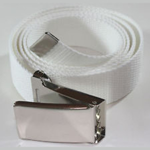 White Golf Web belt with clamshell buckle