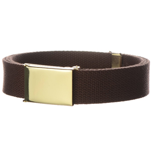 Canvas web belt solid brass clamshell buckle