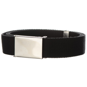 Canvas web belts with polished clamshell buckle