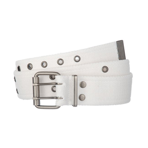 White canvas belt Double pronged buckle
