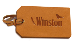 Embossed leather tag