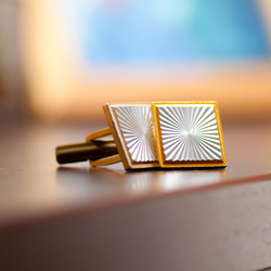 Gold cufflinks with silver