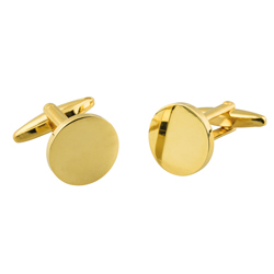 Gold plated cufflinks 15 mm