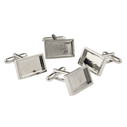 Rectangular Rhodium Plated cufflinks with recess