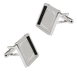 Square Rhodium plated cufflinks with recess
