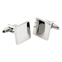 Square sterling silver cufflinks - for engraving 17 x 17 x 3 mm