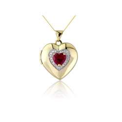 9 carat gold locket with inlays