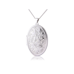 Patterned silver locket