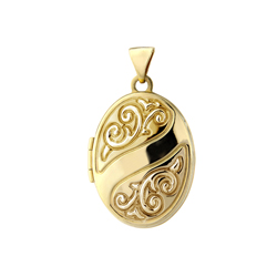Patterned gold locket