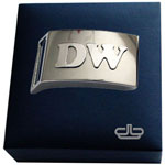 Devanet Sterling silver initials onto belt buckle